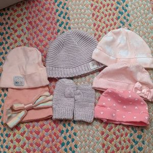 Baby girl newborn hat lot